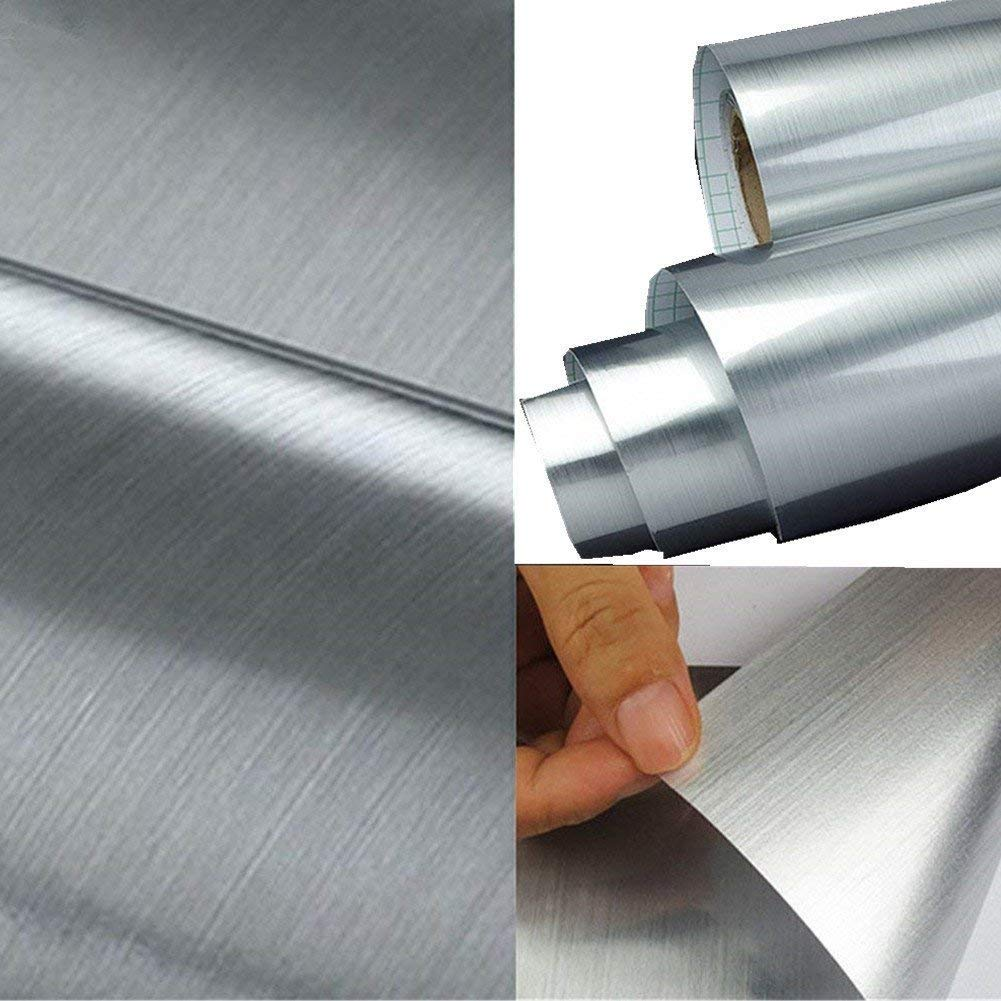 UPREDO Thick Metal Look Stainless Steel Adhesive Metallic Shelf Liner Contact Paper Vinyl Film Backsplash Cover 15.8in by 79in