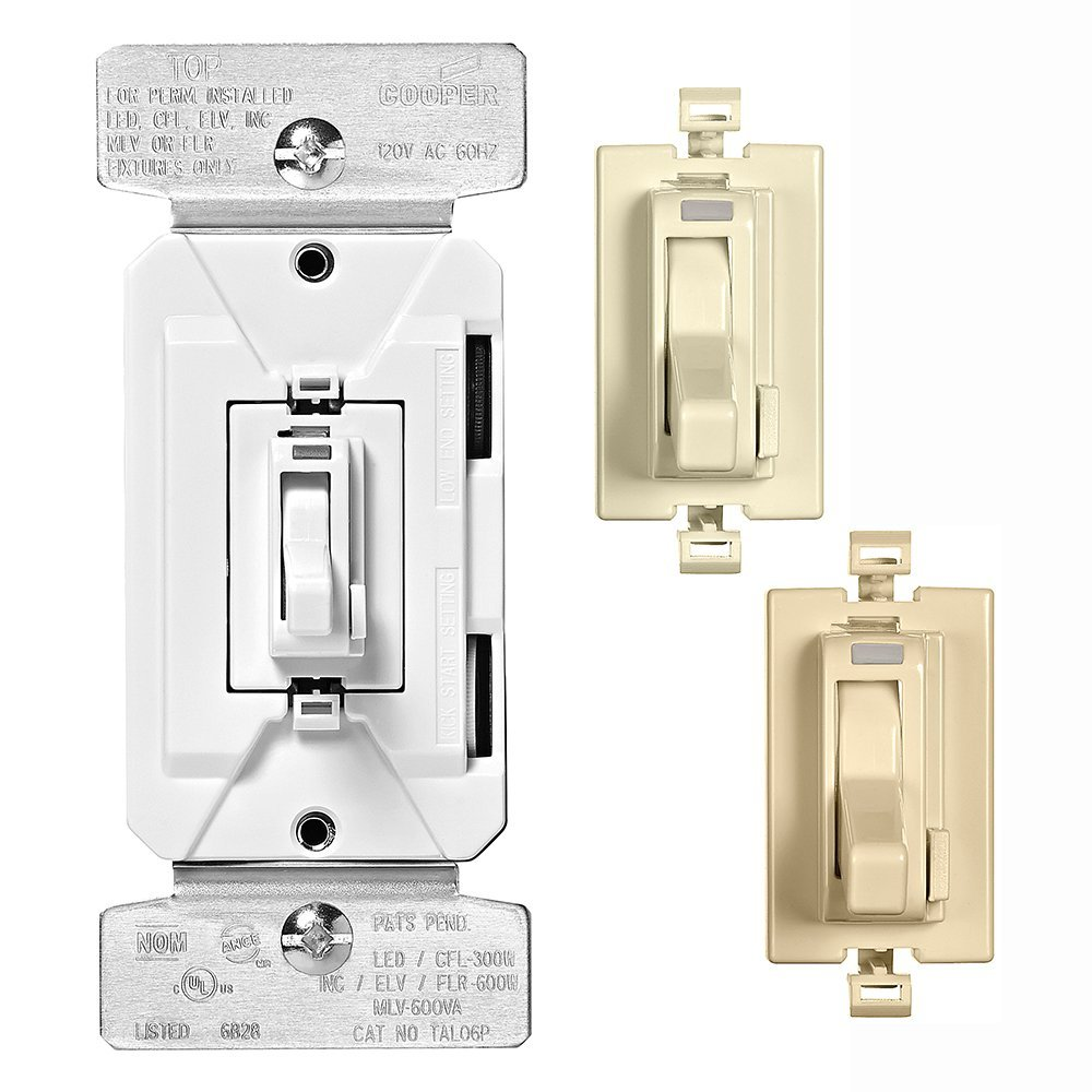 Eaton Wiring Tal06p1 C2 Al Series 300w All Load 3 Way Single Pole Diagram As Well Dimmer Free Download C1 Toggle With Preset And Color Change Kit Almond White Ivory