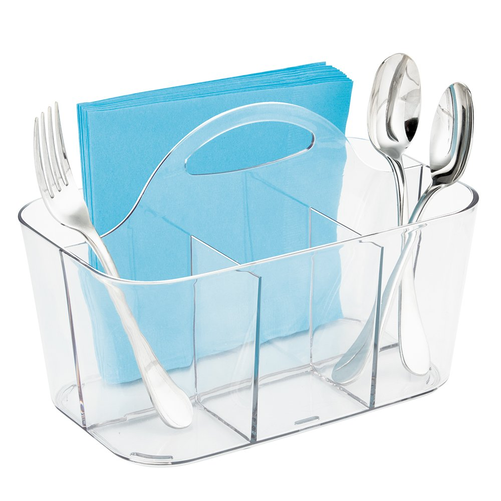 mDesign Plastic Cutlery Storage Organizer Caddy Bin - Tote with Handle - Kitchen Cabinet or Pantry - Basket Organizer for Forks, Knives, Spoons, Napkins - Indoor or Outdoor Use - Clear