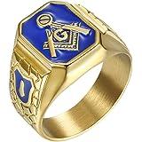 IFUAQZ Anillo de acero inoxidable chapado en oro con símbolo masónico de masón azul G Lodge Master Mason para hombre