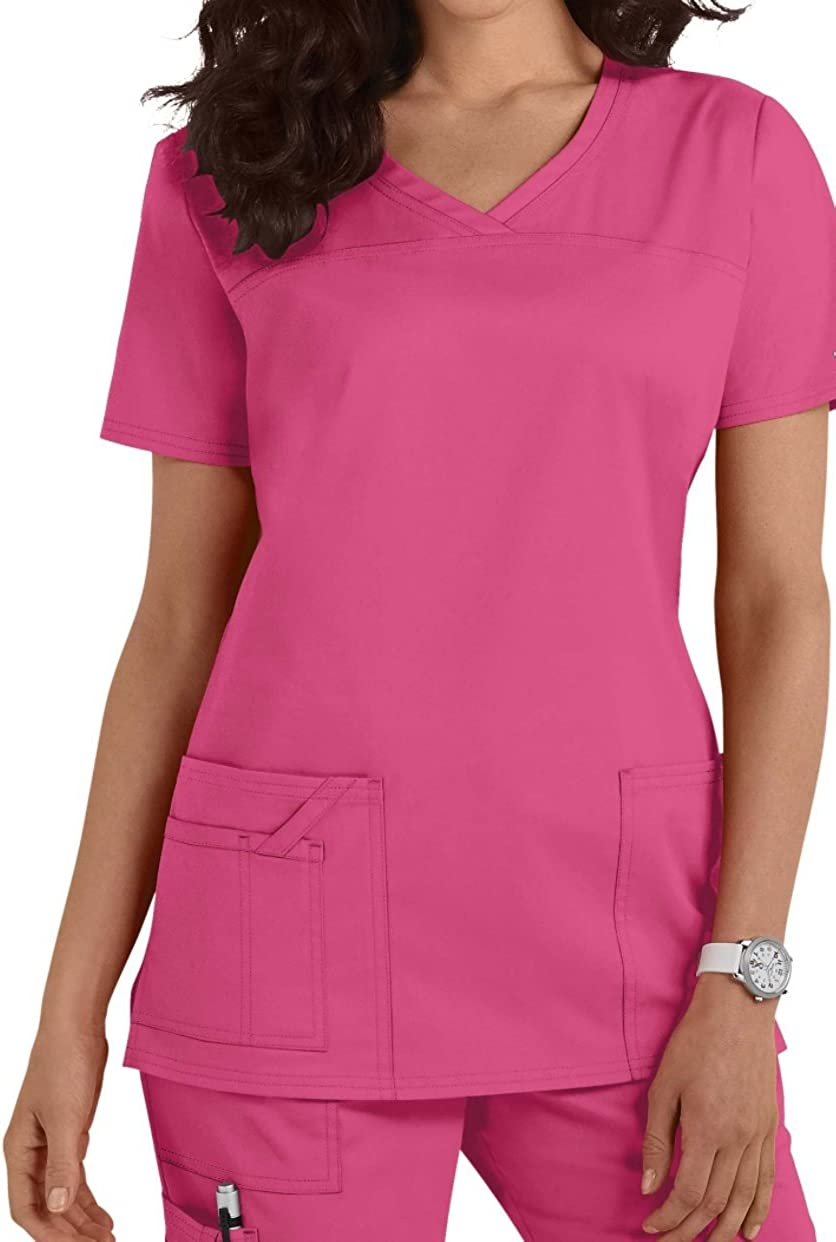Neck Scrub Top New Edition Smart Uniform Workwear Core Stretch Shaped V