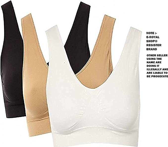 715eae8f183 Image Unavailable. Image not available for. Colour: E - Royal Shop® Silky Sport  Air Bra for Girls & Women Combo Pack of