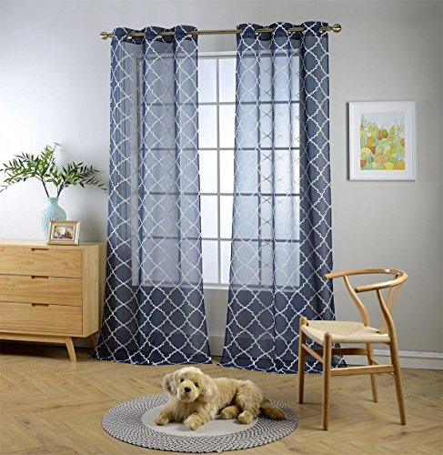 Miuco Sheer Curtains Embroidered Trellis Design Grommet Curtains 95 Inches Long for Window Treatment 2 Panels (2 x 37