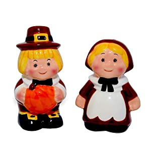 Thanksgiving Salt and Pepper Shakers, Pilgrim Couple Holiday Ceramic Set, Thanksgiving Decor, Barclay's Buys