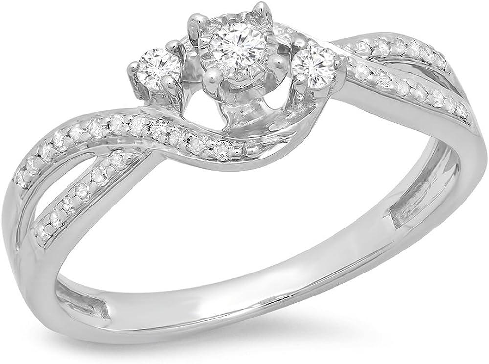 Dazzlingrock half Collection 0.20 Carat ctw White Lad Round 4 years warranty Diamond