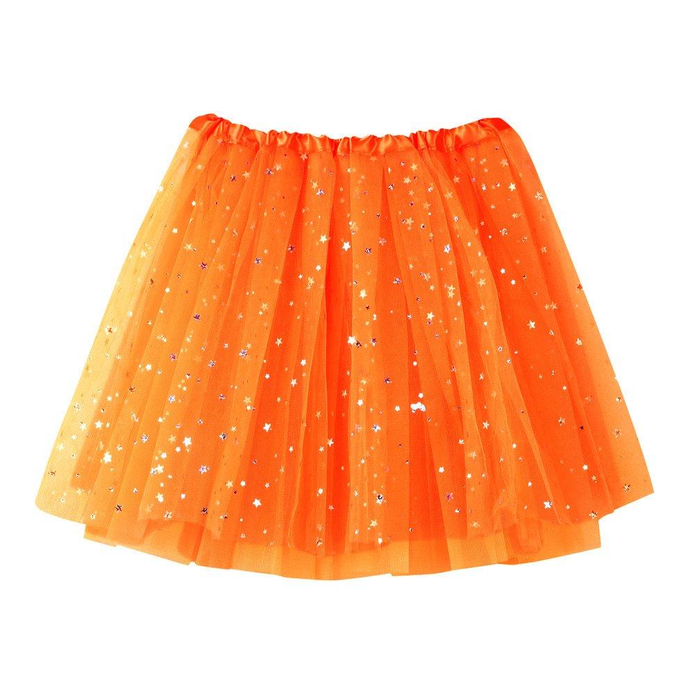 NUWFOR Women's Layered Stars Sequins Tutu Skirt Princess Ballet Dance Dress?Orange?One Size?