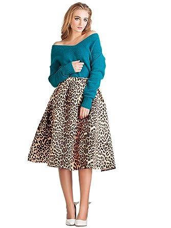 Joeoy Women's High Waist Leopard Print Flare Pleated A-line Midi ...