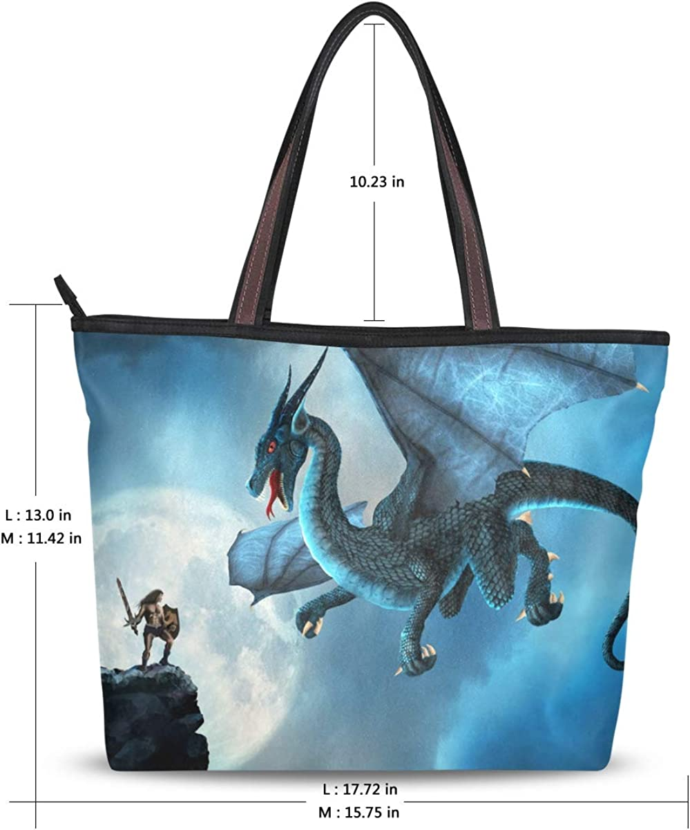 Womens Leather Dragon And Stars Green Handbag Satchel Tote Bag Tote Purse