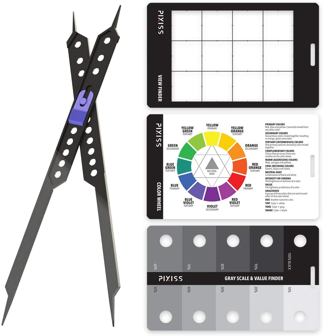 Gray Scale Value Finder Color Wheel and Artists View Catcher Finder Pixiss Proportional Scale Divider Drawing Tool for Artists