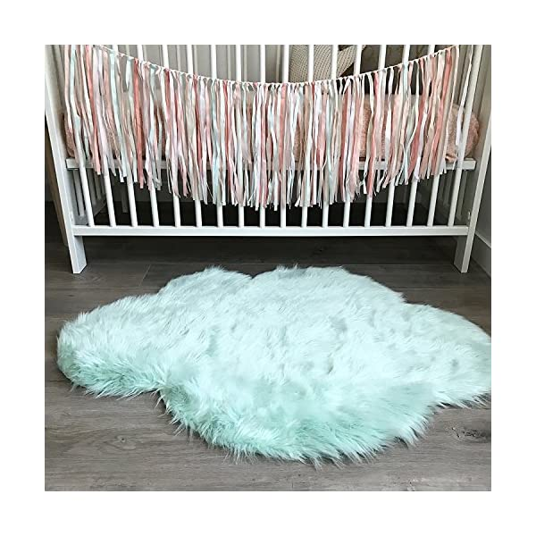 Machine Washable Faux Sheepskin Mint Cloud Area Rug 32″ x 44″ – Soft and silky – Perfect for baby's room, nursery, playroom (2′ 7″ x 3′ 7″) – Mint Cloud
