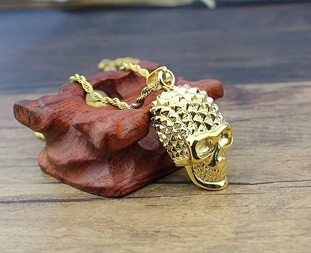 LOPEZ KENT Jewelry Men Stainless Steel Necklace Individual Pendants Skull Gold 3.8CM
