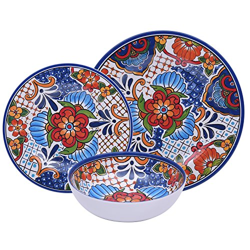 Colorful Floral 12 Piece Melamine Dinnerware Set, Durable Dishes for Parties or Everyday Use, Service for 4 (Dishware Blue)