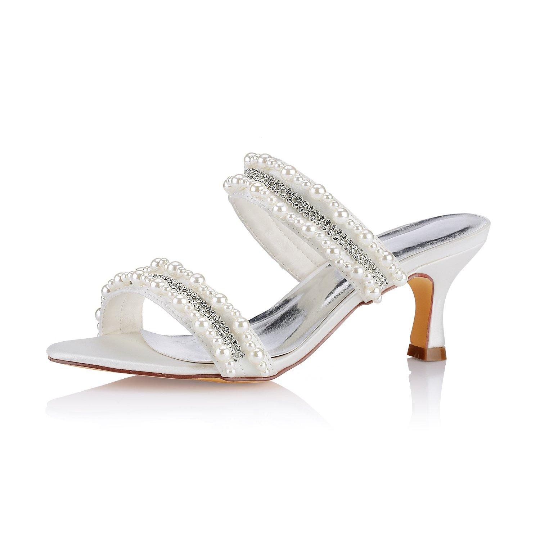 Emily Bridal Sandalias de Tacón de Satén Gatito de Mujer Sandalias de Peep Toe Slingbacks con Diamantes de Imitación 42 EU