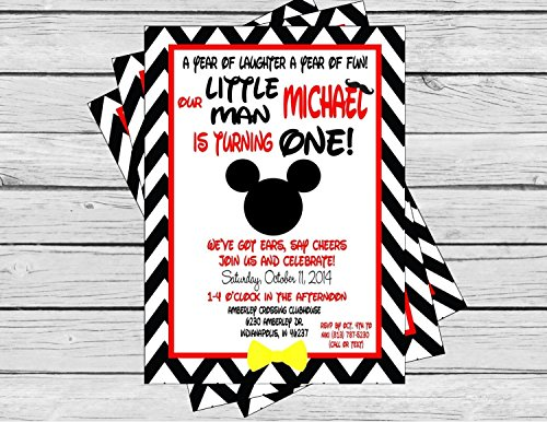 Mickey Mouse Inspired Birthday Invitation - Black Chevron & Red Stripes & White Accents - Party Packs Available (Minnie Mouse Invitations Red)
