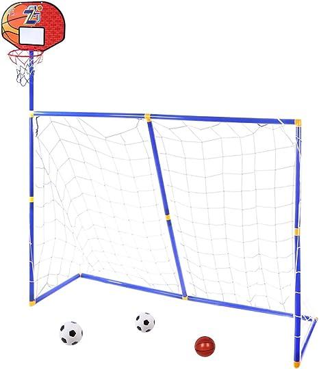 MRKE 3 EN 1 Canasta Baloncesto + Portería de fútbol para Niños ...