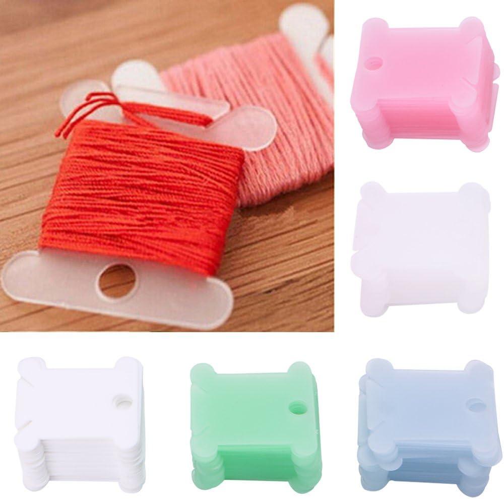 suoryisrty 100Pcs Embroidery Floss Craft Thread Bobbin Cross Stitch Storage Holder Plastic