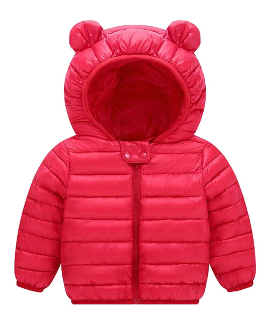 Cruiize Little Girls' Bubble Zip-Front Hooded Outwears Parka Jackets Red 2T