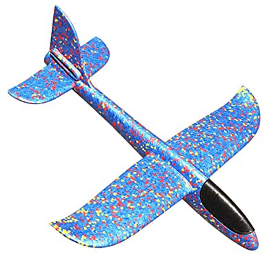 SUSHAFEN 1Piece 48cm/19in Hand Throwing Airplane Toy Foam Aircraft Model Hand Launch Glider Plane Soft Foam Airplane Throw Airplane Kids Outdoor Flying Toys-Blue: Toys & Games