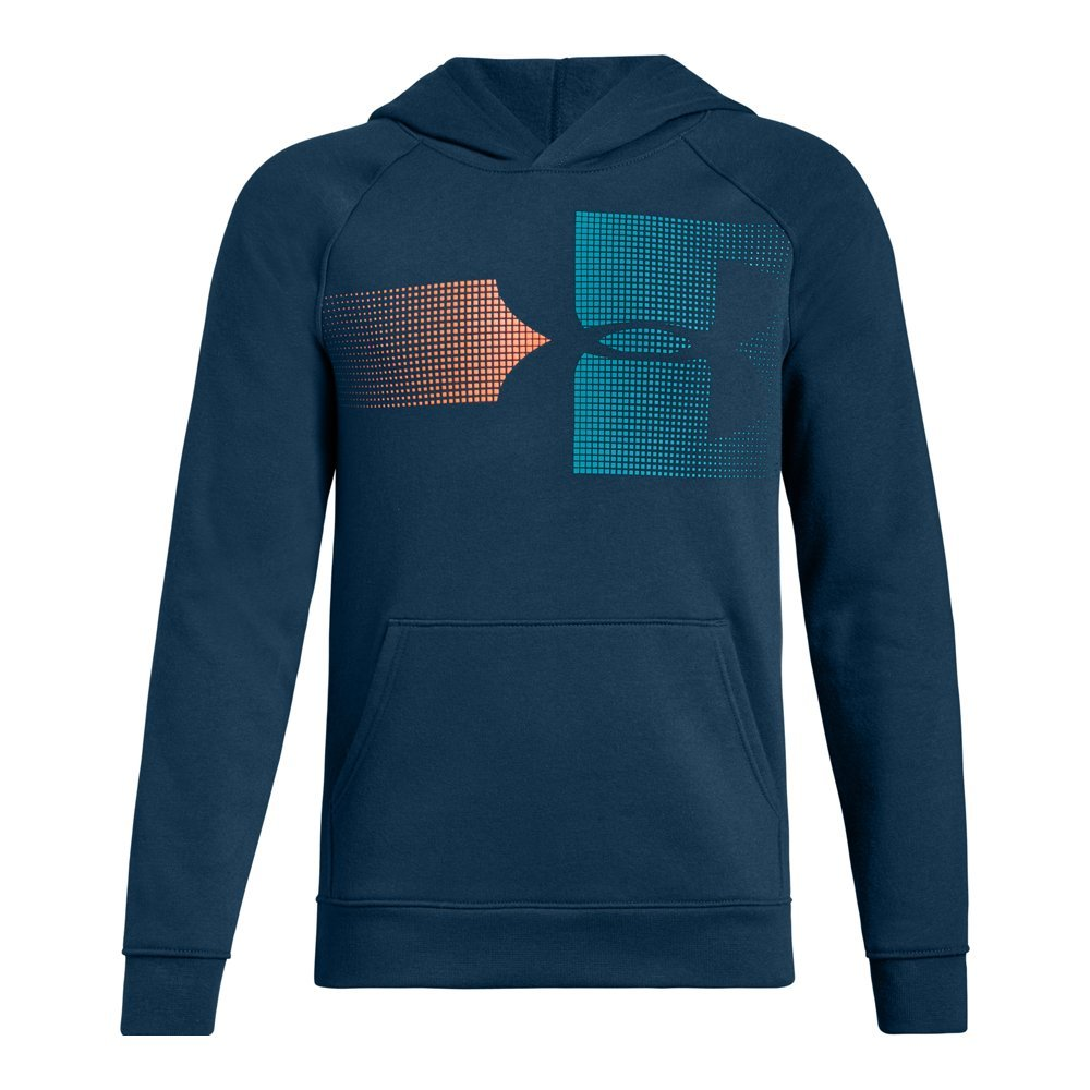 Under Armour Boys Rival Logo Hoodie, Techno Teal (490)/Deceit, Youth Small by Under Armour