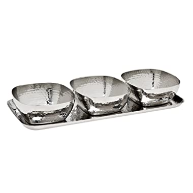 Godinger Silver Art 4-piece 5 Oz. 11  Hammered Stainless Steel Relish Tray Platter Set With 3 Square Bowls