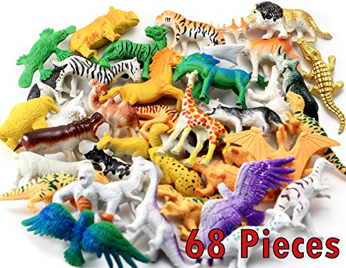 Animals Figures 68 Pieces   Mini Jungle Animals Toys Set   Realistic Wild Vinyl Plastic Animal   Learning Party Favors Toys for (Jungle Mini Toy)