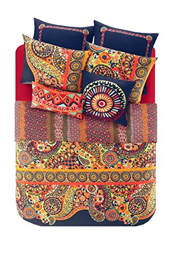 Josie By Natori Hollywood Boho Duvet Cover Full/Queen Size - Orange, Navy , Bohemian Medallion Paisley Duvet Cover Set – 3 Piece – 100% Cotton Percale Light Weight Bed Comforter ()