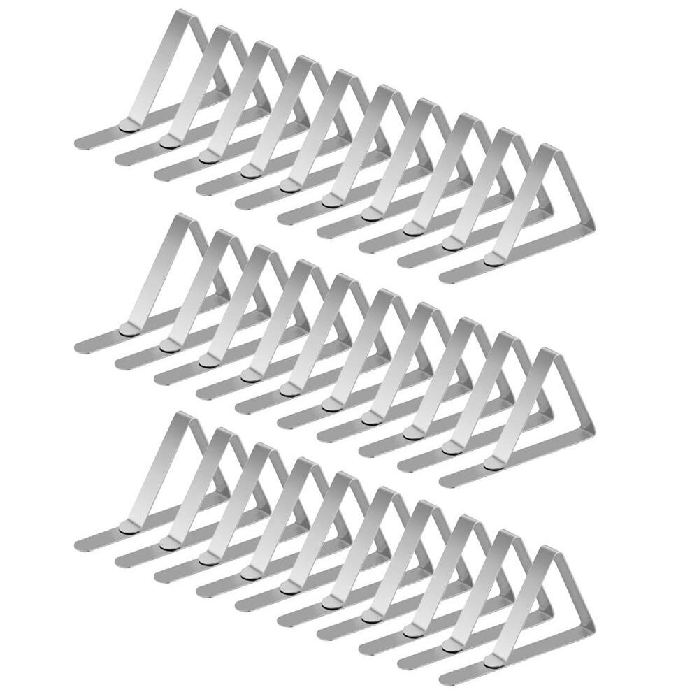 G.a HOMEFAVOR Tablecloth Clips Picnic Table Clips Flexible Stainless Steel Table Cover Clamps Table Cloth Holders Great for Indoor and Outdoor Party, Pack 30 (Silver)