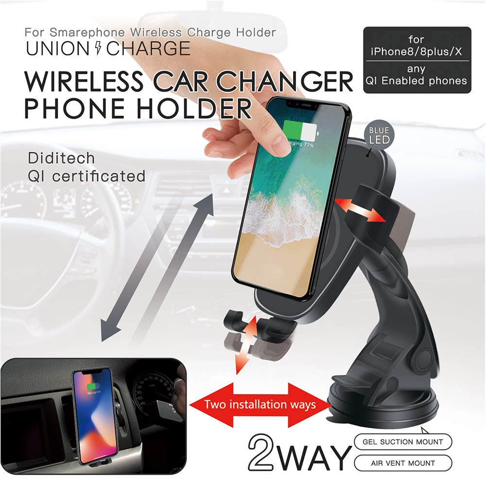 Wireless Car Charger Mount, Wireless Charge Car Phone Holder, Japanese Design Qi Fast Charge Phone Mount for Samsung Galaxy S9 Plus S8 Edge Note8, Standard Charge for iPhone X 8 Plus Qi-enabled Device