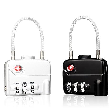 LOHOME Certificado por Tsa equipaje Locks – 3 dígitos Cable Combinación candados para equipaje de viaje