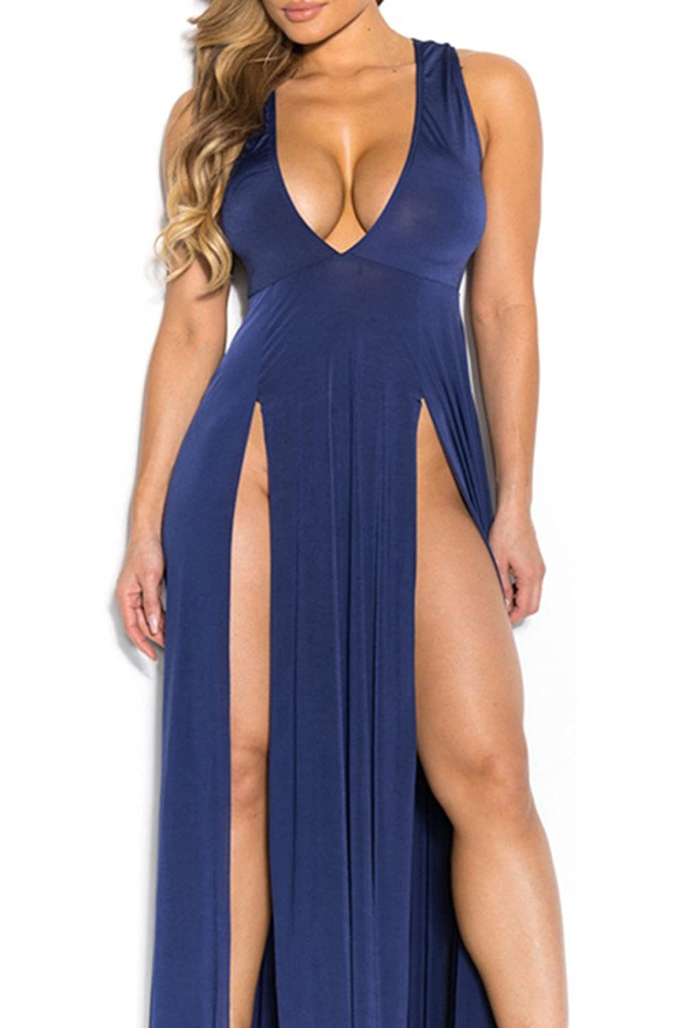 VIVOSKY Women's Sexy V Neck Side Split Club Dress Bandage Bodycon Party Dress