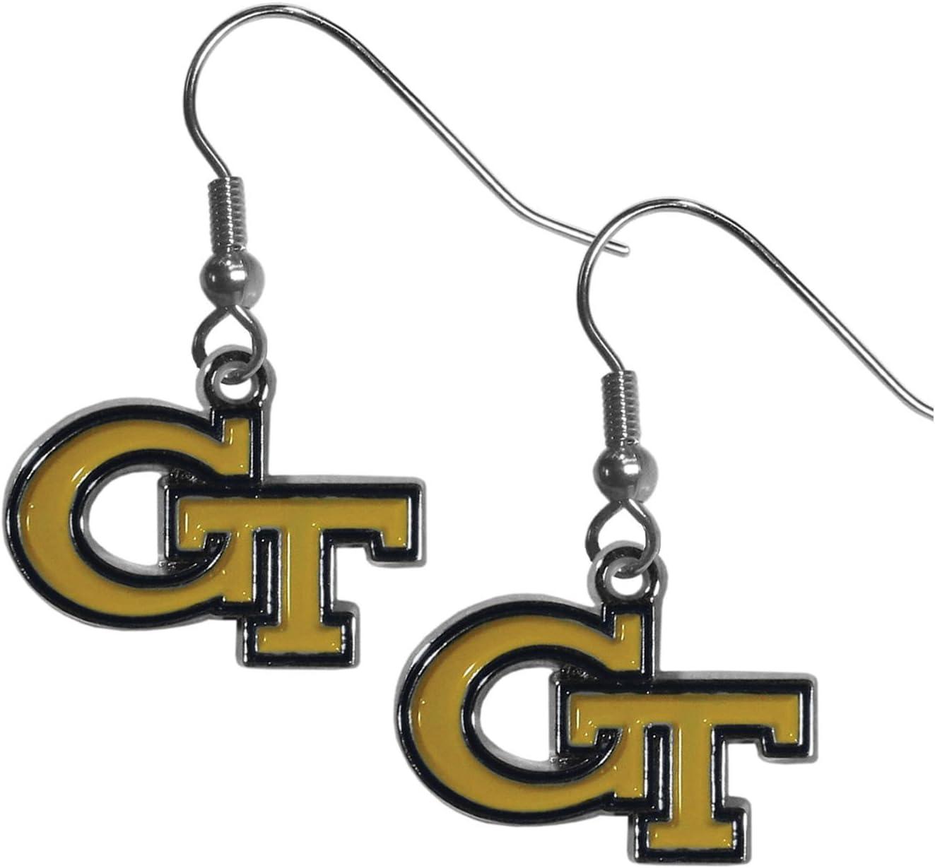 Siskiyou Sports Womens NCAA Georgia Tech Chrome Dangle Earrings Yellow