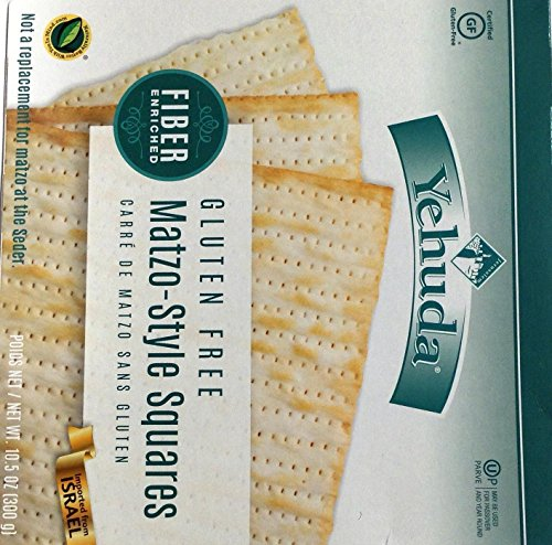 Yehuda Fiber Enriched Gluten Free Matzo Style Squares Kosher For Passover 10.5 oz. Pack of 6 by Yehuda