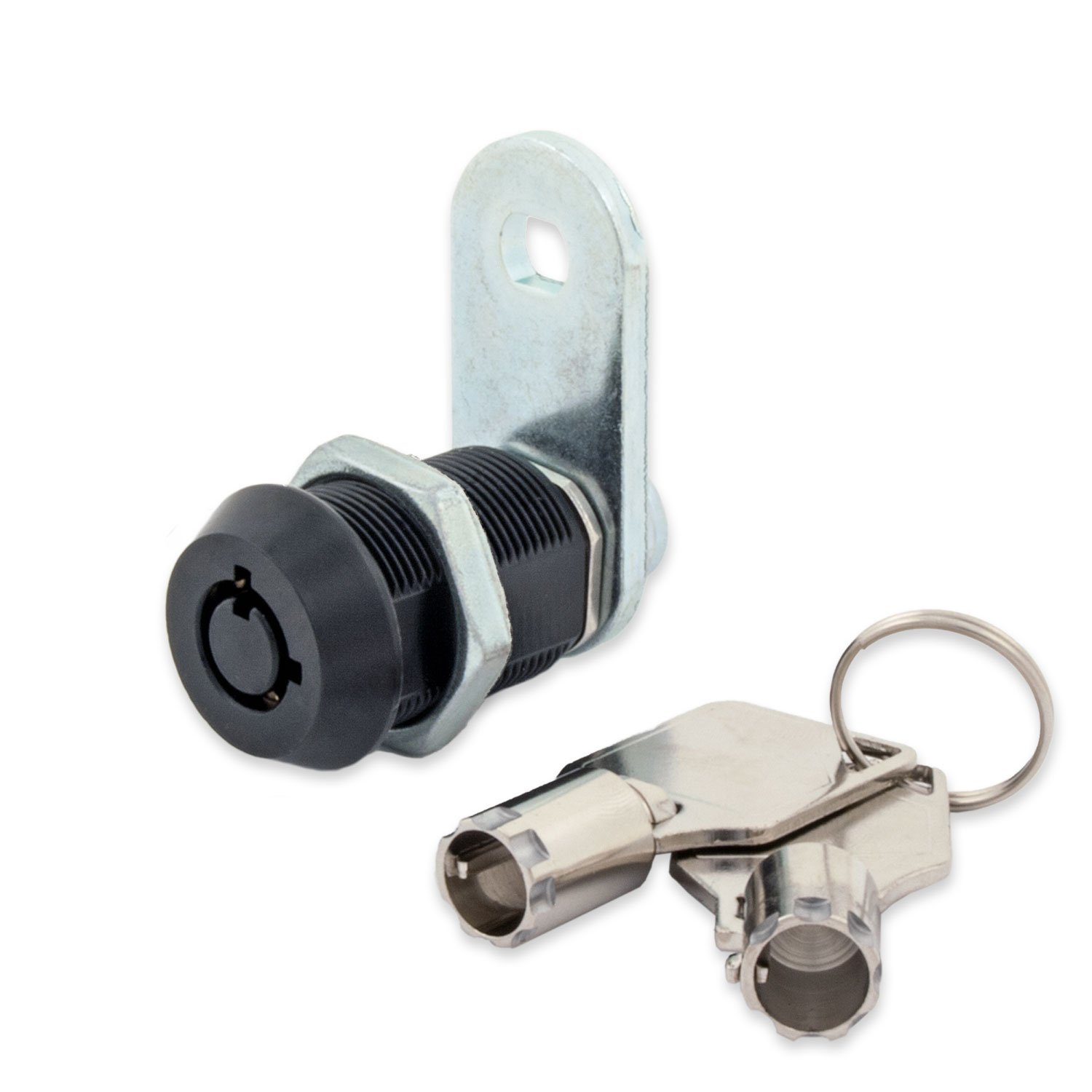 FJM Security 2400AM-BLK-KD Tubular Cam Lock with 7/8'' Cylinder and Black Finish, Keyed Different