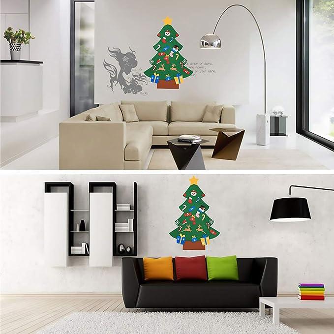 Gudotra Kit Árbol de Navidad Fieltro Pared Puerta+30 Adornos Desmontables + Cadena de Luces LED para Niños Regalos Decoración de Navidad Año: Amazon.es: ...