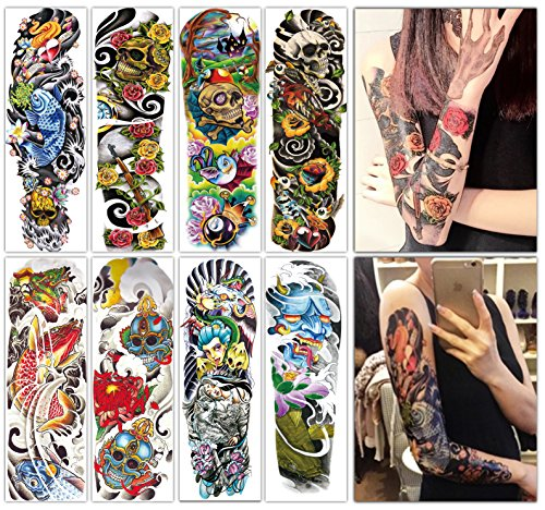 DevilFace Large Full Arm Temporary tattoos for Men