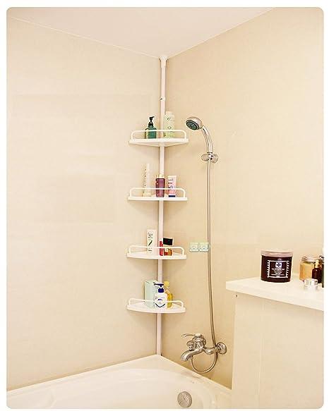 2 Tier & 4 Tier Adjustable Shelf Bathroom Organiser Corner Shower ...