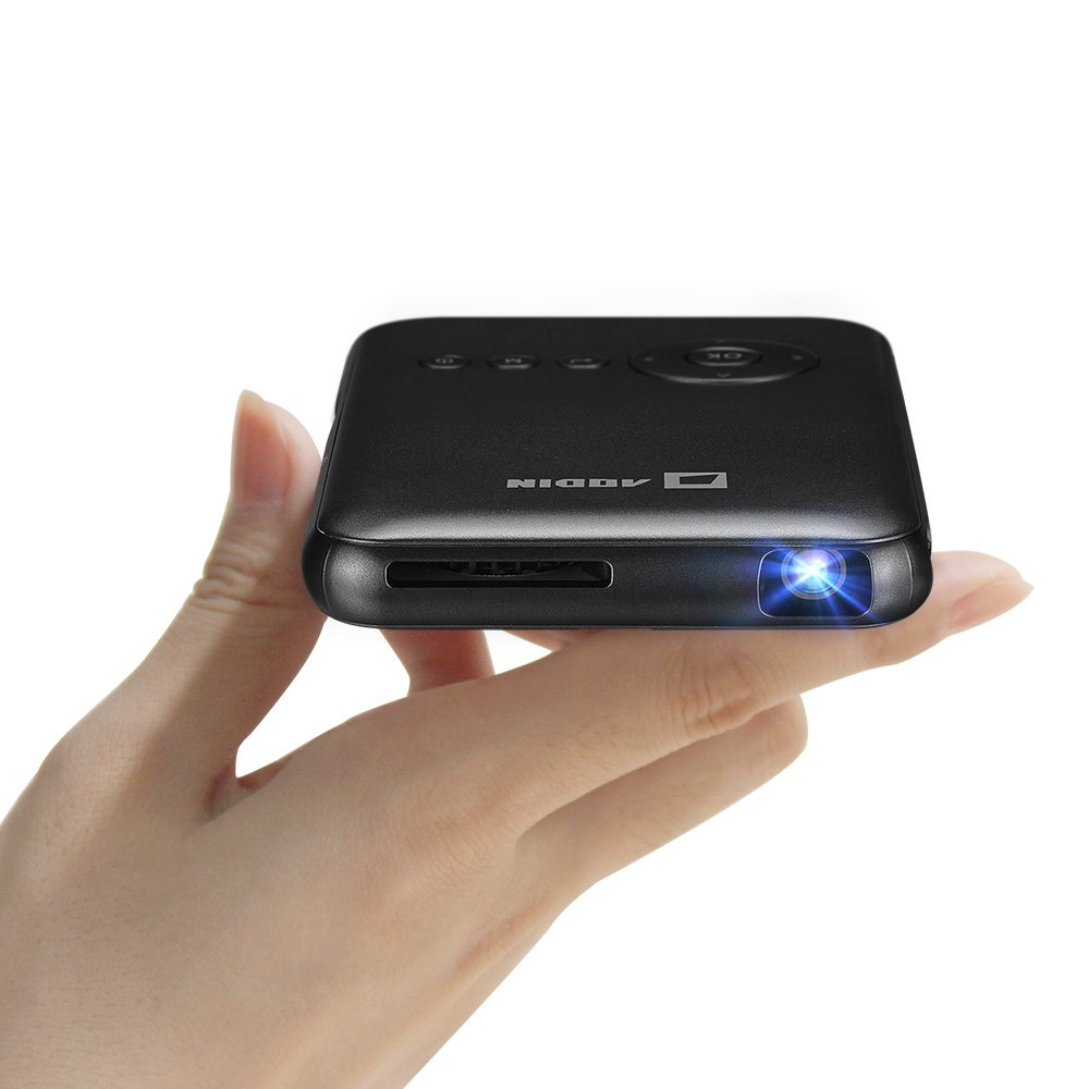 Smart Mini Android Video Cinema Projector by Aodin Features with HDMI-Input -Wiresless & Bluetooth - Keystone Correction – Rechargeable 5000Mah Battery for 2.5 Hours Non-stop Playing Videos Movies