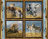 Wild Wings Kenyan Plains Pillow Panel Fabric by The Yard, 43/44-Inch Wide, Multi-Colored