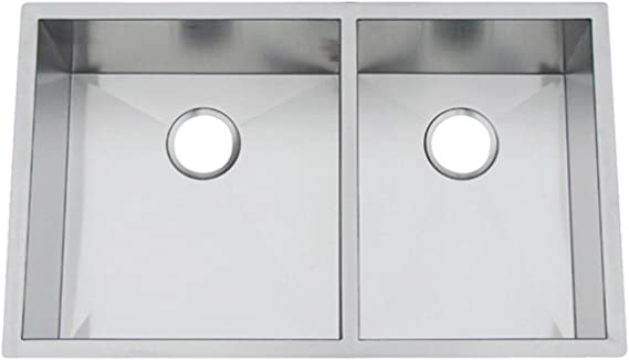 Artisan Cpuz 3319 D1010 33 Inch Undermount Double Basin 16 Gauge Stainless Steel Kitchen Sink Chef Pro Collection Double Bowl Sinks