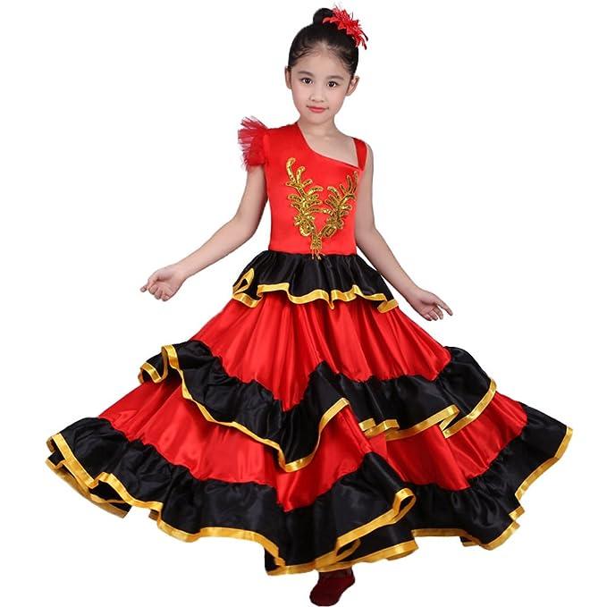 8b595be0972d Red Spanish Flamenco Dance Ballet Dress Costume for 4-12 Years Girl Attach  Headflower (