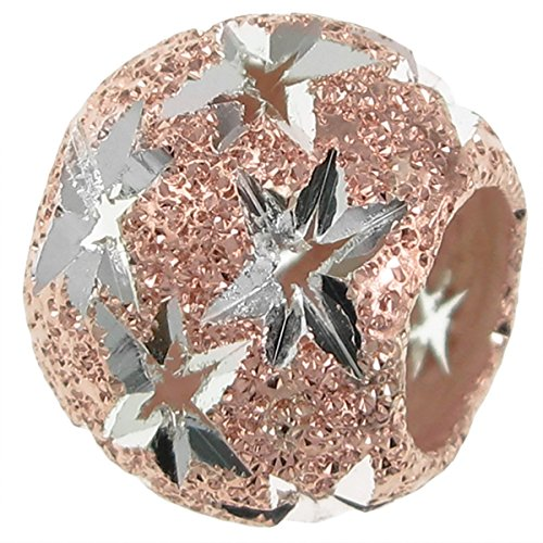 Dreambell Rose Gold-tone .925 Sterling Silver Twinkle Star Starry Night Stardust Bead For European Charm Bracelets