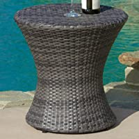 Grayling Wicker Side Table, Grey by Beachcrest Home