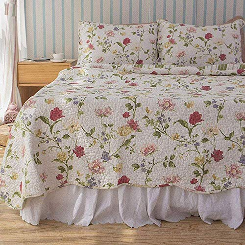 DOUH 3 Piece Quilt Coverlet Bedding Set Reversible Cotton Floral Printed Flowers Pattern Patchwork Bedspread Bed Coverlets Cover Set,Queen Size(90