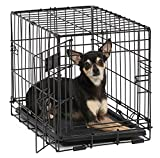 "MidWest 18"" iCrate Folding Metal Dog Crate w/ Divider Panel, Floor Protecting ""Roller"" Feet & Leak-Proof Plastic Tray; 18L x 12W x 14H Inches, Toy Dog Breed"