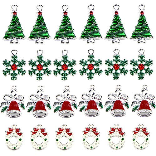 24 Pack Christmas Assorted Enamel Charm Pendant Xmas Tree Snowflake Bell Garland Dangle Pendants for Necklace Bracelet Earring Anklet DIY Jewelry Making Crafting Accessories Decorations Silver Plated
