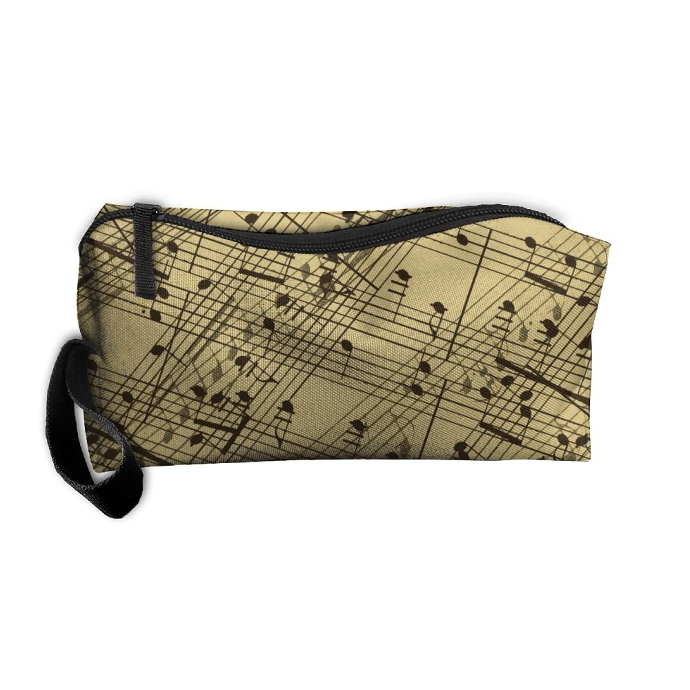 Music Notes Pattern Pattern Makeup Bag Calico Girl Women Travel Portable Cosmetic Bag Sewing Kit Stationery Bags Funny Storage Pouch Bag Multi-function Bag best