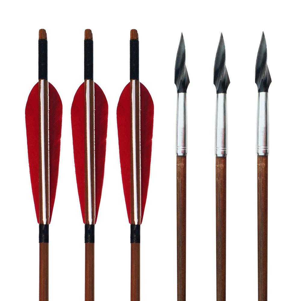 SHARROW 6 St/ück Bogenschie/ßen Bambuspfeile mit 5 Naturfedern f/ür Recurvebogen Traditioneller Langbogen Horsebow Jagdziel /Übungspfeile
