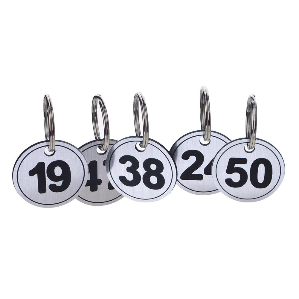 con targhetta ID numerata 50/pezzi 1to50 Black Aspire Portachiavi ABS con anello