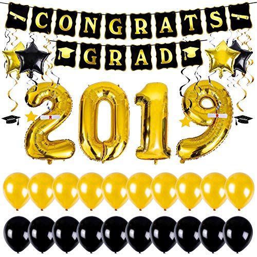 2019 Balloons Gold Decorations, Graduation Banner and Hanging Swirls Kit - 40 Inch Foil Balloons, Black and Gold Star Mylar Foil and Latex Balloon for College High School Seniors Party Decor Supplies