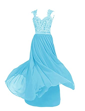 Dressystar Sexy Open Back Chiffon And Lace Prom Bridesmaid Evening Prom Dresses Size 20 Blue